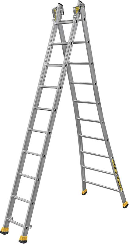 Двухсекционная алюминиевая лестница-стремянка Centaure T2x10