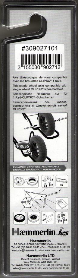 Ось для колеса строительной тачки Haemmerlin CLIPSO (телескопическая) Ø=14мм