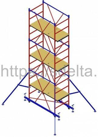 "Вышка-тура ""МЕГА 2М"", Н=13,8м (без стабилизатора)"