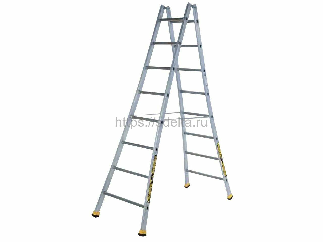 Двойная алюминиевая лестница-стремянка Н 2х10 Centaure Франция
