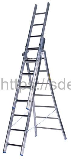 Трехсекционная алюминиевая лестница-стремянка Centaure PET 6+2х7