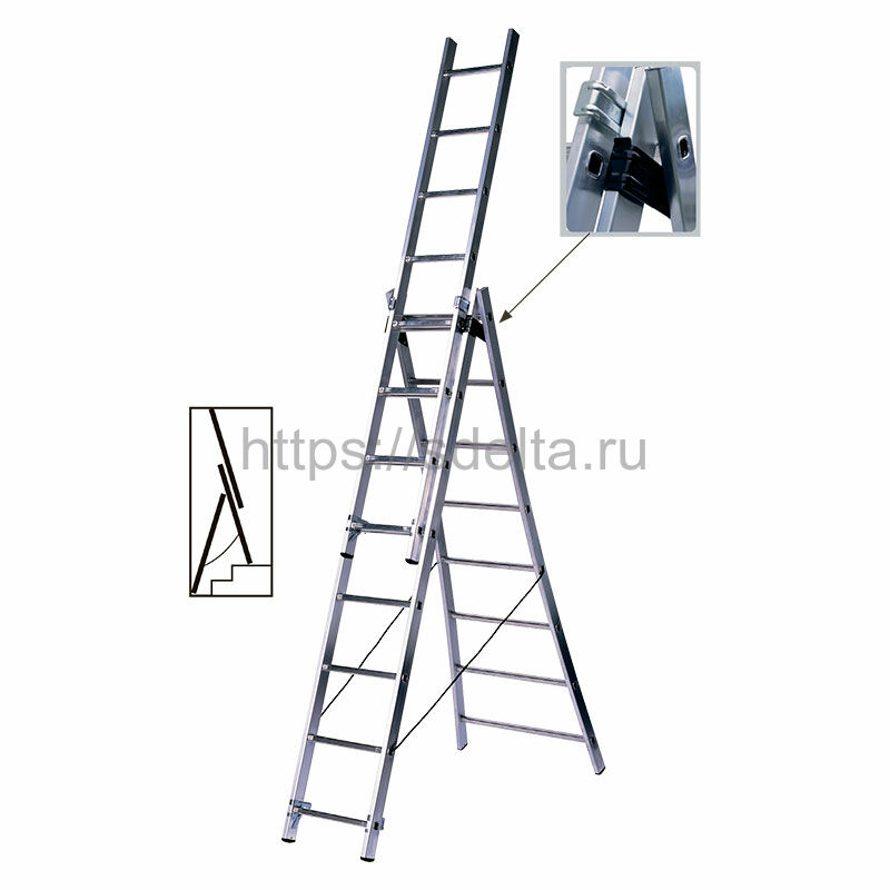 Трехсекционная алюминиевая лестница-стремянка Centaure BT 3x9 PRO