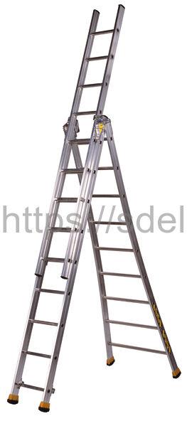 Трехсекционная алюминиевая лестница-стремянка Centaure T3x7