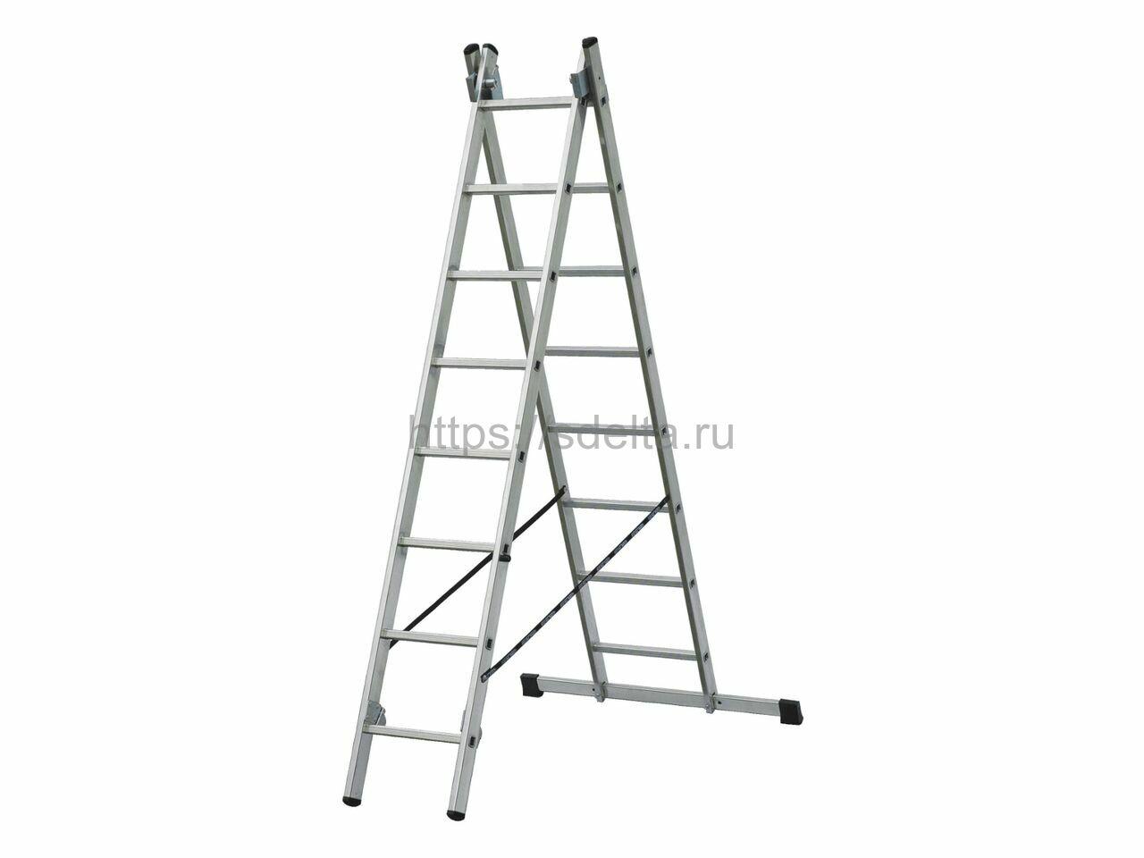 Двухсекционная алюминиевая лестница-стремянка ELKOP VHR 2x10 HK