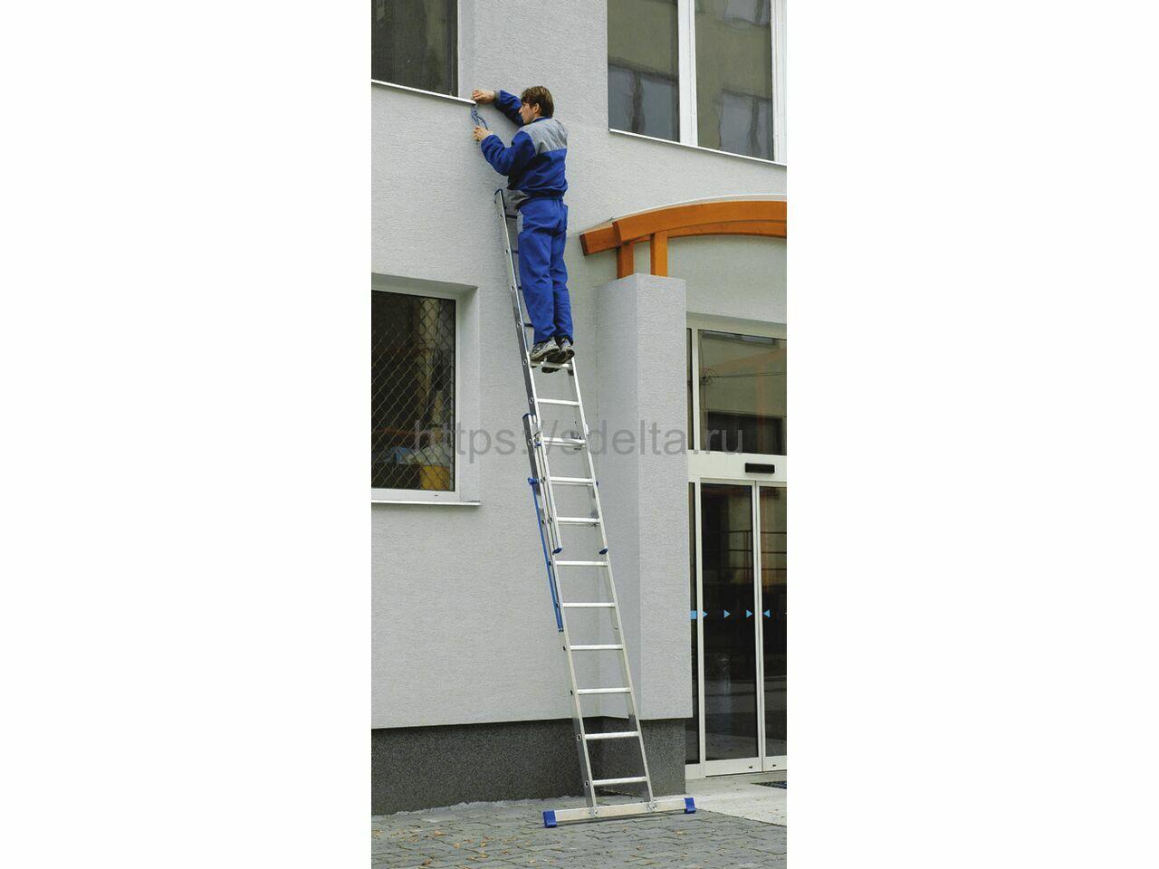 Двухсекционная алюминиевая лестница-стремянка ELKOP VHR 2x12 HD