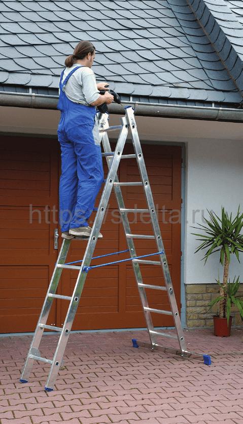 Двухсекционная алюминиевая лестница-стремянка ELKOP VHR 2x17 PK