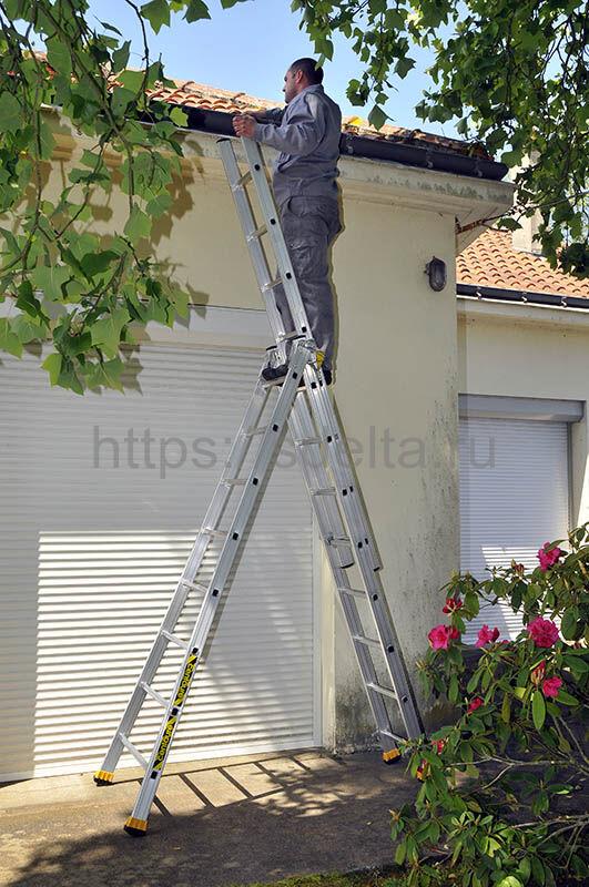 Трехсекционная алюминиевая лестница-стремянка Centaure T3x9